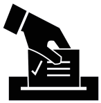 ballot, voting black and white